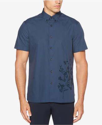 Perry Ellis Men's Regular-Fit Yarn-Dyed Stripe Floral-Print Shirt