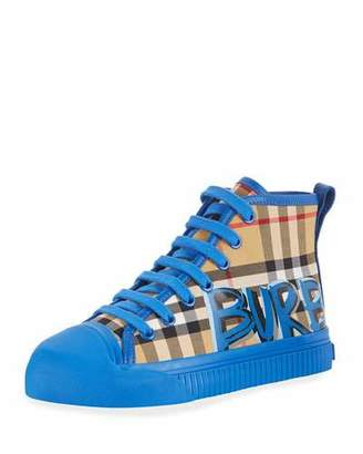 Burberry Kingly Graffiti-Logo Check High-Top Sneaker, Toddler/Kids