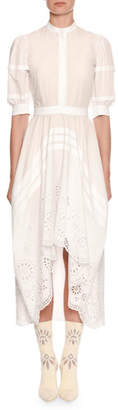 Alexander McQueen Puff Short-Sleeve Broderie Anglaise Cotton Midi Dress
