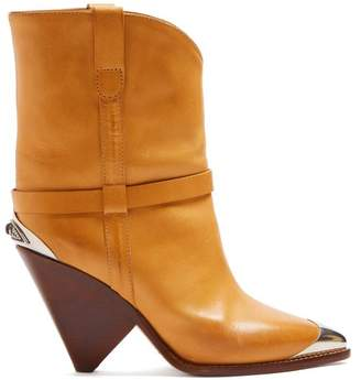 Isabel Marant - Lamsy Leather Ankle Boots - Womens - Tan