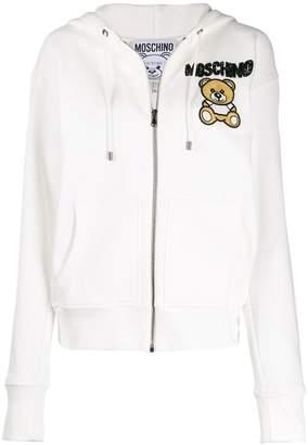 Moschino beaded teddy bear zipped hoodie