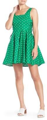 BAILEY BLUE Polka Dot Lace-Up Side Skater Dress