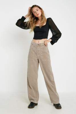 BDG Cali Corduroy Puddle Trousers - beige XS at Urban Outfitters