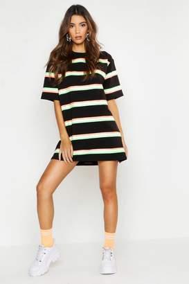 boohoo Neon Stripe Oversized T-Shirt