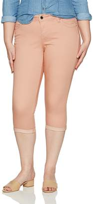 YMI Jeanswear Women's Plus Size Juniors Wannabettabutt Single Button Roll Cuff Crop