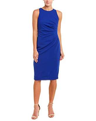 Adrianna Papell Women's Knit Crepe PLEATD LACE Trim Sheath Dress