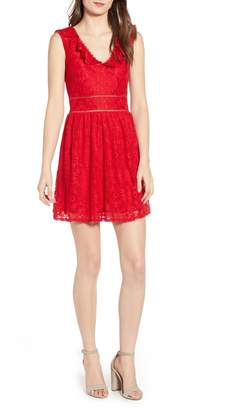 Speechless Lace Ruffle Neck Skater Dress
