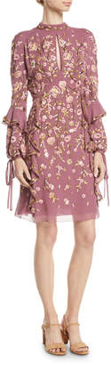 J. Mendel High-Neck Long-Sleeve Floral-Embroidered Silk A-Line Dress