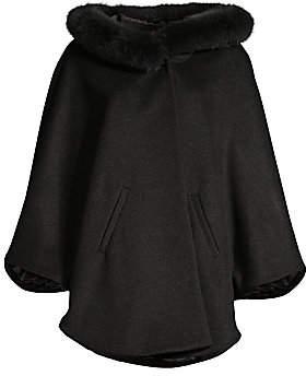 Sofia Cashmere Women's Fox Fur Trim Cashmere & Wool Poncho Jacket