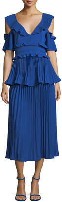 Self-Portrait Self Portrait Pleated Frills Midi Cocktail Dress