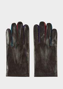 Men's Brown Leather Concertina Gloves