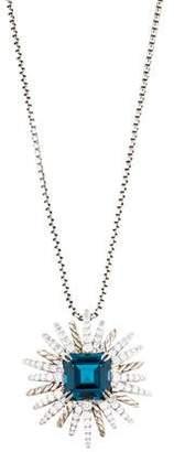 David Yurman Diamond & Topaz Starburst Pendant Necklace