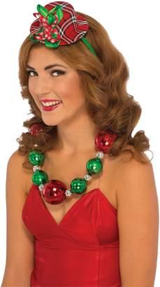 Rubie's Costume Co Mini Hat Headband Plaid Red Green Elf Christmas Caroller Costume Accessory New