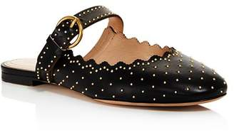 Chloé Women's Lauren Round Toe Studded Leather Ballerina Flats