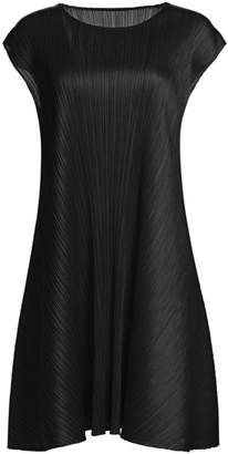 Pleats Please Issey Miyake Luster Short-Sleeve Shift Dress