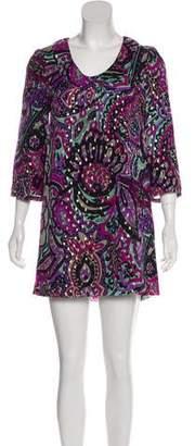 Tibi Mini Print Silk Dress