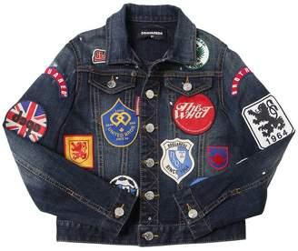 DSQUARED2 Patches Stretch Cotton Denim Jacket