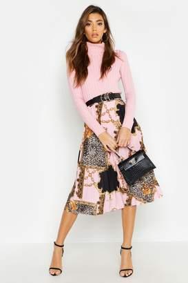 boohoo Pleated Chain Print Midi Skirt