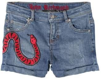 John Richmond Snake Patch Stretch Denim Shorts