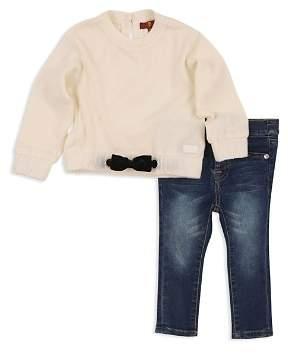 7 For All Mankind Girls' Bow Sweatshirt & Skinny Jeans Set - Little Kid