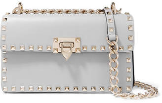 Valentino Garavani The Rockstud Leather Shoulder Bag - Light gray