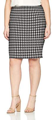 Star Vixen Women's Plus Size Knee Length Washable Stretch Faux Suede Classic Pencil Skirt with Back Slit