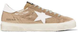 Golden Goose May Distressed Metallic Suede And Leather Sneakers - IT40