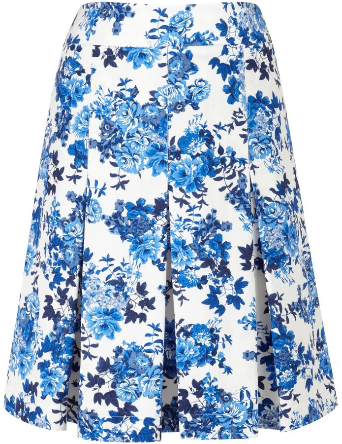 CC Floral Print Pleated Skirt