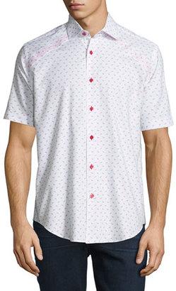 Bogosse Mini-Patterned Short-Sleeve Sport Shirt, White $175 thestylecure.com