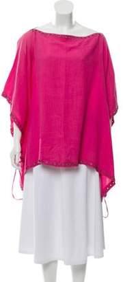 Celine Grommet-Accented Linen Tunic Magenta Grommet-Accented Linen Tunic