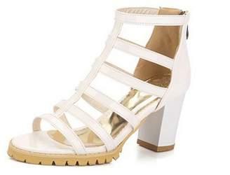 leanna Women's Cut Out T-strap Ankle Wrap Platform Chunky High Heels Pumps Sandals 7.5 B (M) US