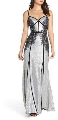 Tadashi Shoji Sleeveless Sequin & Lace Gown