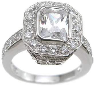 Plutus Brands CZ Sterling Silver Rhodium Finish Emerald-Cut Antique-Style Wedding Ring
