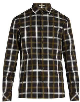 Bottega Veneta Check Jacquard Cotton Blend Shirt - Mens - Black Multi