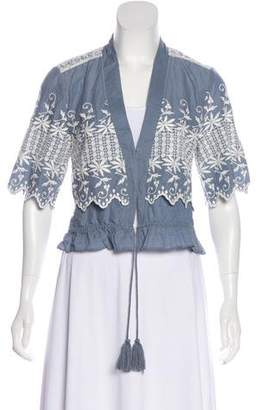 LoveShackFancy Embroidered Three-Quarter Sleeve Blouse w/ Tags