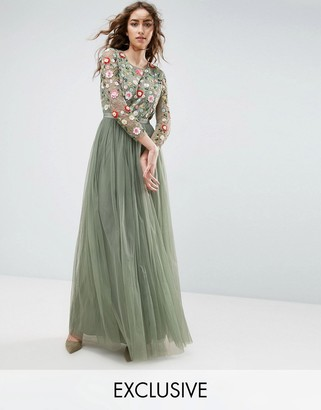 Needle & Thread Needle and Thread Long Sleeve Embroidered Maxi Dress $356 thestylecure.com