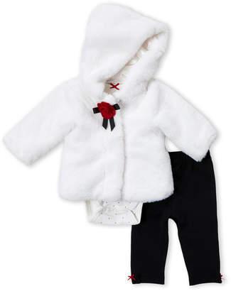 Little Me Newborn Girls) 3-Piece Faux Fur Jacket, Bodysuit & Legging Set