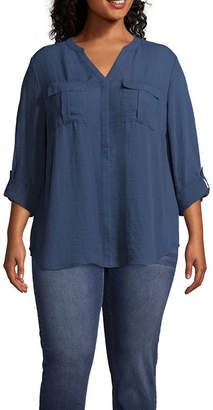 A.N.A 3/4 Sleeve Button-Front Shirt - Plus