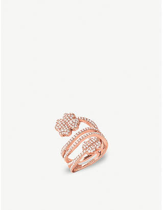 Folli Follie Miss Heart4Heart four-leaf clover rose gold-plated and cubic zirconia ring