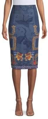 Versace Dragon-Print Pencil Skirt