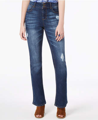 Vanilla Star Juniors' Ripped Double-Button Bootcut Jeans