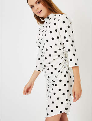 George White Spot Print Ruched Side Dress