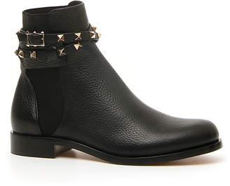 Valentino Rockstud Beatle Leather Ankle Boot