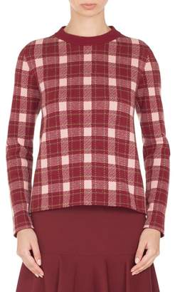 Akris Punto Brit Check Wool & Cashmere Pullover