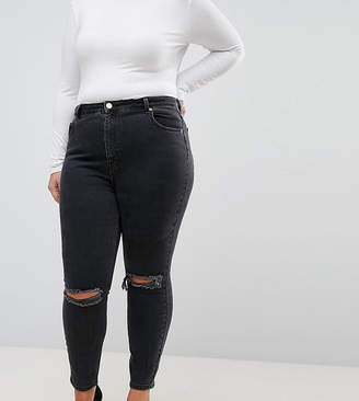 Asos DESIGN Curve super high rise firm skinny jeans with busted knees in washed black