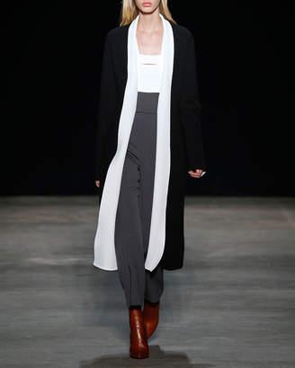 Narciso Rodriguez Textured Sleeveless Cutout Top, White/Black