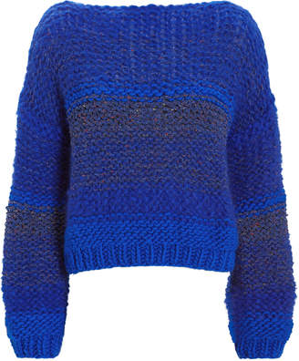 Maiami Tweed-Look Blue Sweater