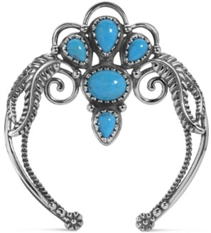 American West Turquoise Leaf and Vine Naja Enhancer Pendant in Sterling Silver