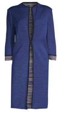 Misook Women's Mélange Cuff Knit Jacket - Blue - Size Small
