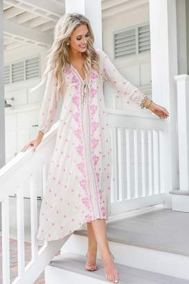 Goodnight Macaroon 'Abby' Boho Plunge Neck Petal Embroidery Empire Dress by Champagne & Chanel